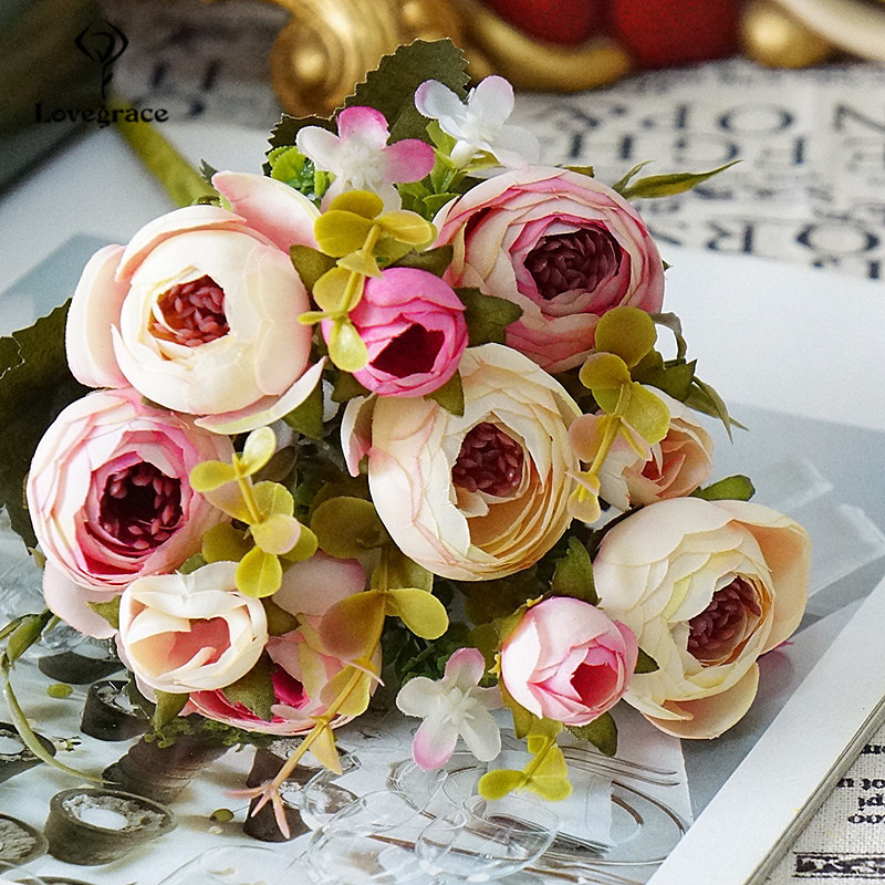 5 Branches Artificial Roses Flowers Bunch Romantic DIY Fake Silk Floral For Wedding Table Party Home Vase Decoration Faux Floral