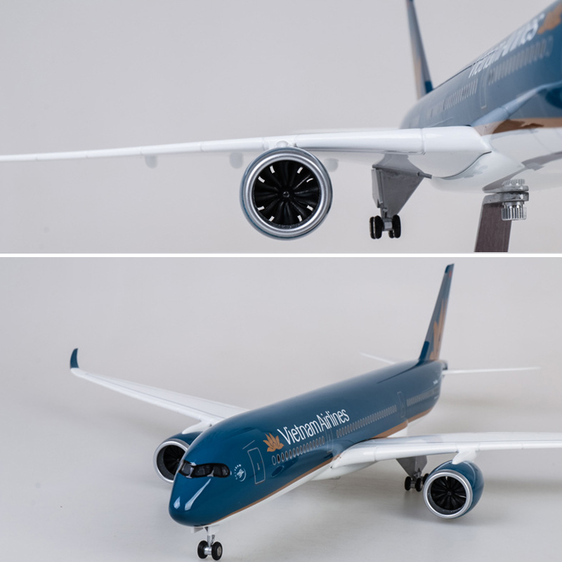 1/142 Scale 47CM Resin Aircraft Model Boeing B787 Vietnam Airlines A350 Aircraft Model With Light Wheels For Collection Plane