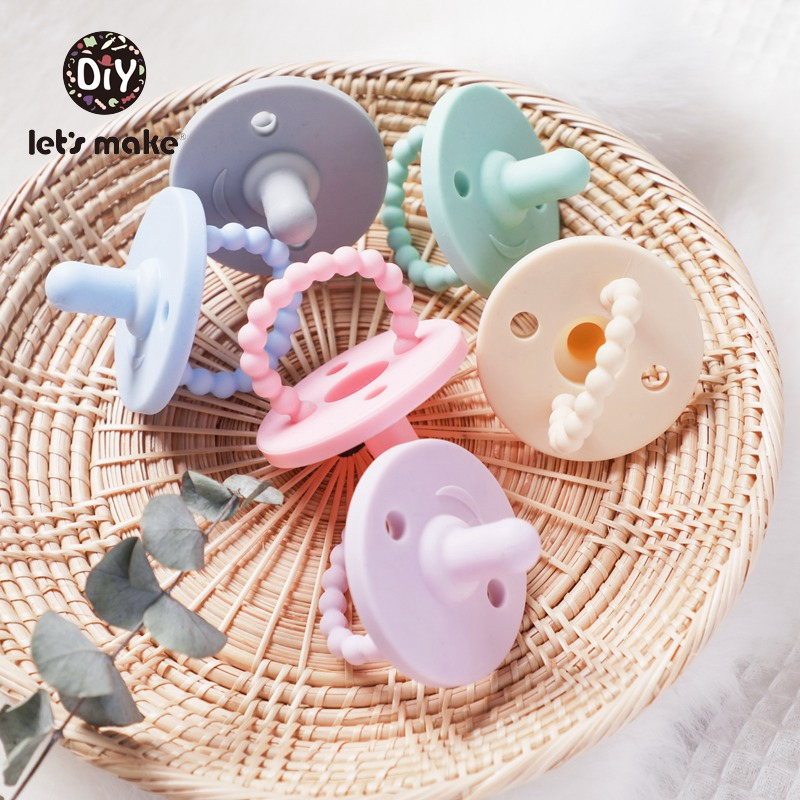 Let's Make 1pc Baby Silicone Pacifier Food Grade Silicone Soother Nipple DIY Pacifier Chain Candy Colors Baby Teether Pendant