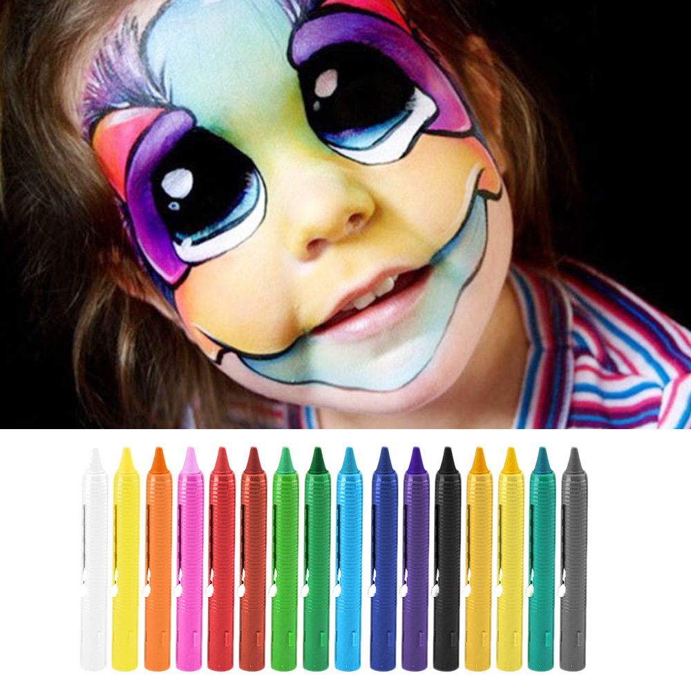 16 Colors Halloween Face Paint Body Crayons For Clown Drama Masquerade Party Carnivals Makeup Facepainting Kit Set Supplies
