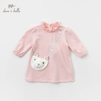 DB13619 dave bella spring baby girl's princess cartoon ruched dress children fashion party dress kids infant lolita clothes image