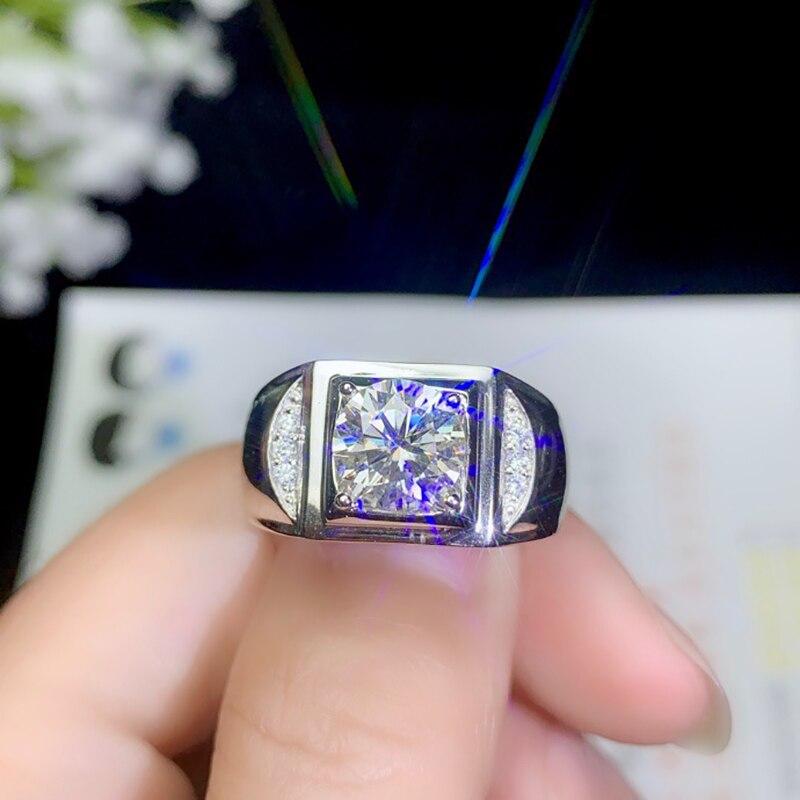 BOEYCJR 925 argent 1ct/2ct/3ct F couleur Moissanite VVS fiançailles bague de diamant de mariage pour les hommes avec certificat national