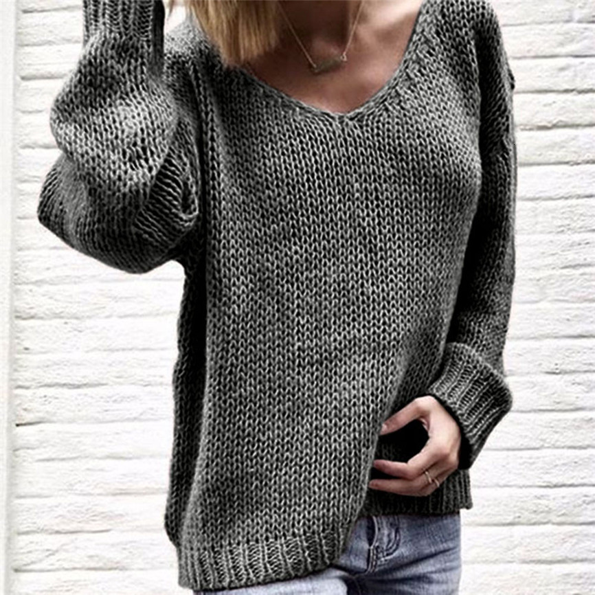 Autumn Sweater Women Women's Fashion V-neck Long Sleeve Solid Color Sweaters And Knitted Sweaters Tops Sweaters For Women