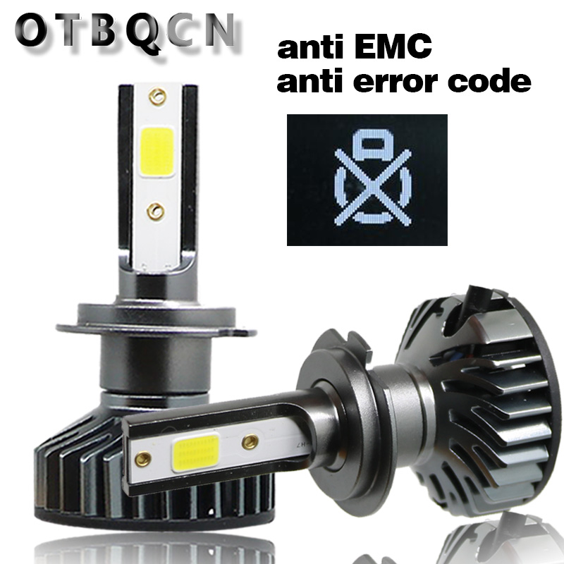 OTBQCN Mini Car Headlight Canbus H7 H4 LED 3000K 4300K 6500K 8000K H1 H11 H8  9005 9006 H3 Headlamp LED Bulb Auto Fog Lights 12V