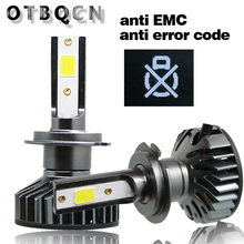 OTBQCN Mini reflektor samochodowy Canbus H7 H4 LED 3000K 4300K 6500K 8000K H1 H11 H8 9005 9006 H3 reflektor LED żarówki samochodowe światła przeciwmgielne 12V