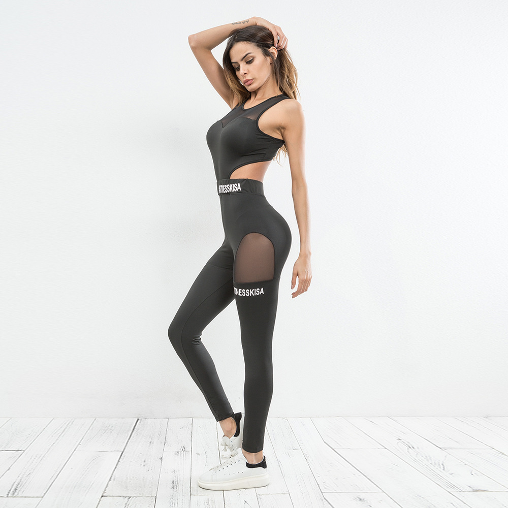 mulheres malha retalhos treino conjunto yoga fitness