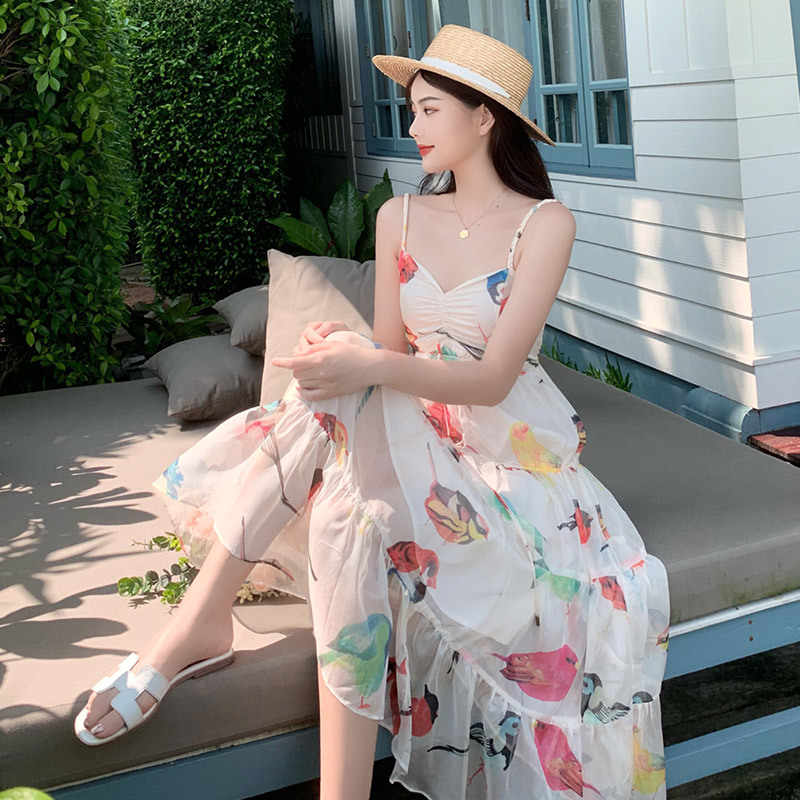 Bali Beach Skirt Women's Summer Thailand Sanya Seaside Holiday Skirt Long Skirts Immortal Floral-Print Chiffon Strapped Dress