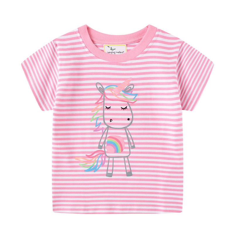Jumping meters Girls Pink Cotton T shirts for Summer Stripe Children Clothes Animals Print New 2020 Kids Tops Tees 1