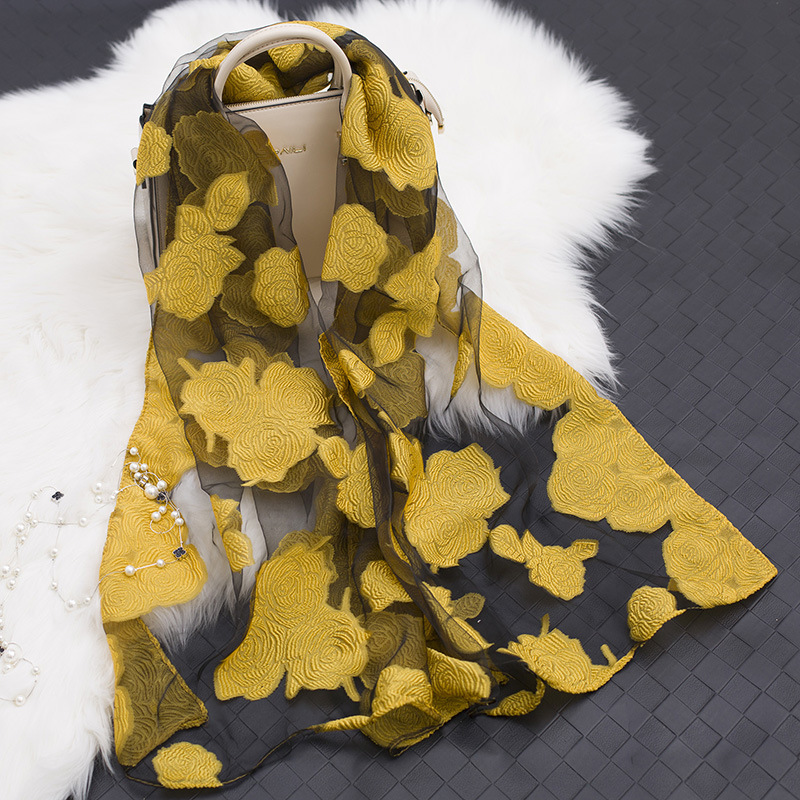 2019 New Women's Scarf Leaves And Flower Pattern Long Shawl Scarves Spring Autumn High-Quality Organza Lady Elegant Hijab Wraps