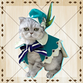 Game Genshin Impact Venti Cosplay Cloak Hat for Pet Cat Dog Barbatos Cosplay Pet Clothes Costume