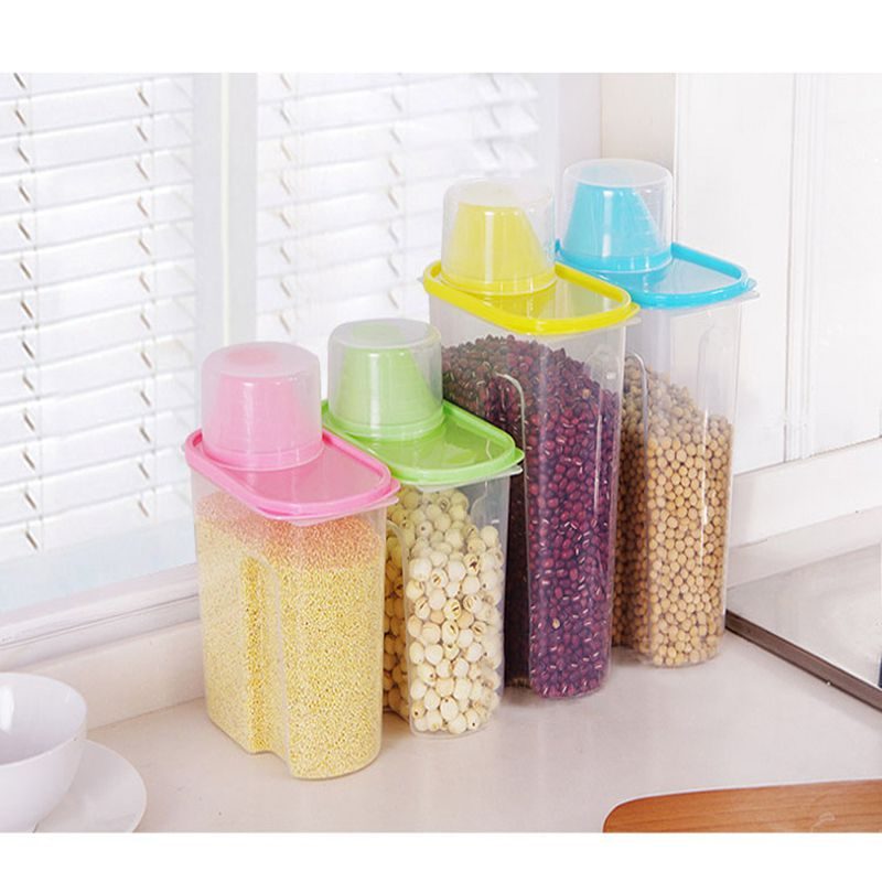 Large Capacity Pet Dog Cat Food Storage Container Dry Food Dispenser Puppy Feeder 4 Colors Sealed Cans For Food Storage
