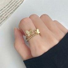 Anello farfalla di alta qualità per le donne ragazze nuovo placcato in oro intarsiato zircone lusso lucido regolabile anello di barretta regalo gioielli