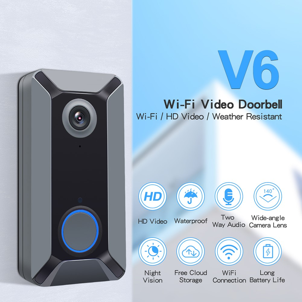 Smart WiFi Video Doorbell Camera V6 Visual Intercom With Cloud Storage Night Vision IP Door Bell Wireless Home Security Camera
