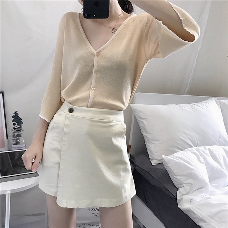 Women Skirt 2019 Trend High Waist Korean Style Loose Casual Wide Leg Shorts Skirts Elegant Safety Fashion