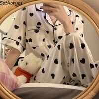 Conjuntos de pijama de manga corta para mujer, Tops con estampado de corazón, ropa de dormir suave para chicas y adolescentes