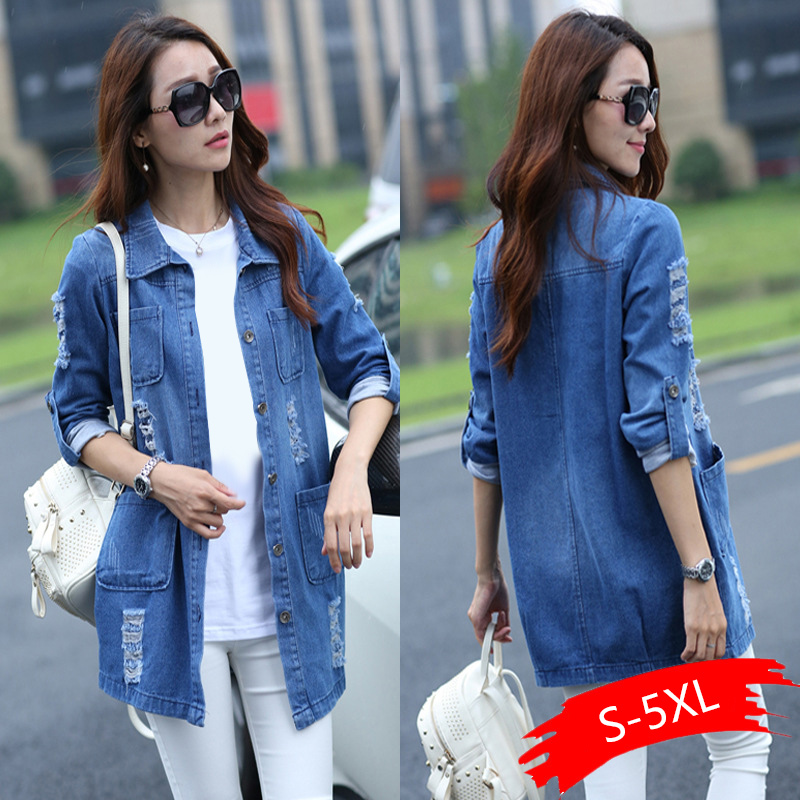 Women Jeans Jacket Long Denim Coat Hole Ripped Denim Jacket Femme Elegant Vintage Jean Jackets Outwear Casacos Feminino