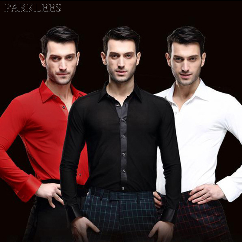 Men's Professional Black Dance Shirt Elastic Slim Fit Tuxedo Shirt Men Waltz Tango Ballroom Flamenco Rumba Samba Latin Dancewear