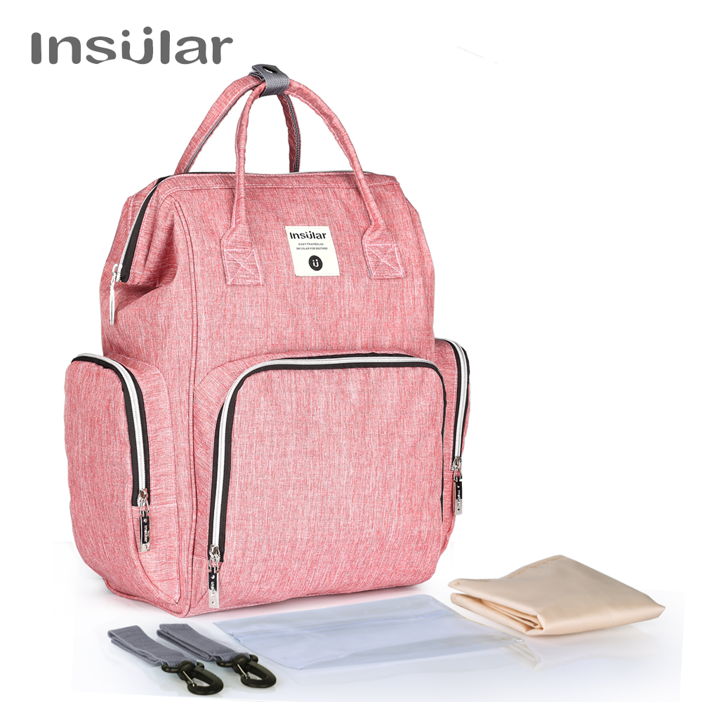 Insular Baby Mom Backpack Mummy Diaper Bag Large Maternity Nappy Bags Multifunction Baby Bag for Stroller Organizer With Wet Bag
