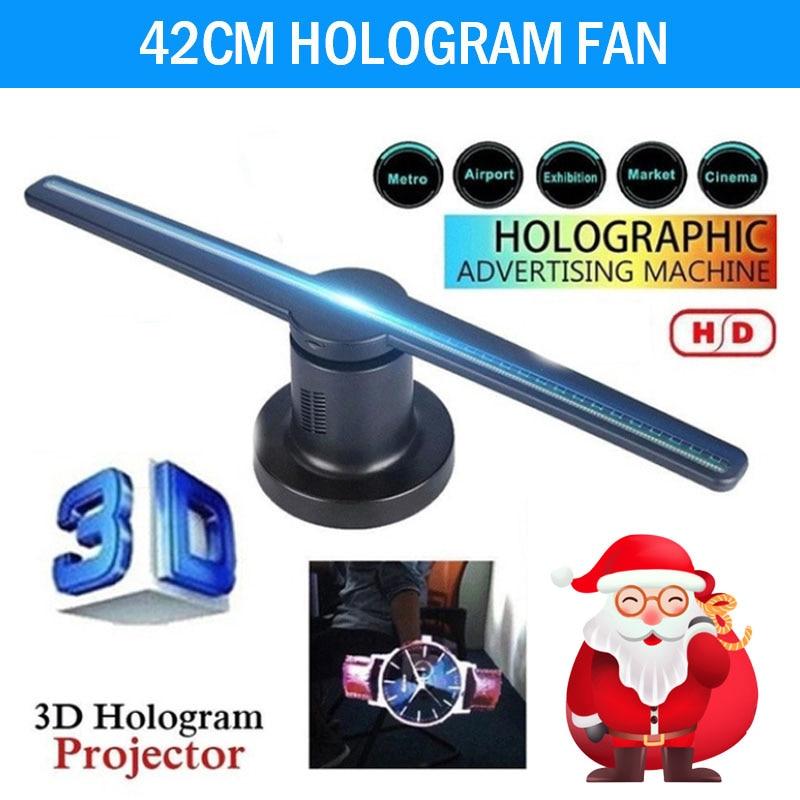 Nouveau 3D hologramme projecteur ventilateur 3D hologramme affichage projecteur ventilateur holographique affichage avec 16G TF 224 LEDs noël drôle