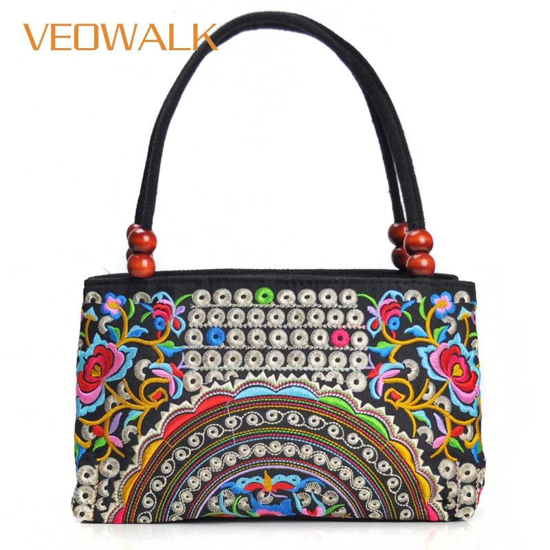 Veowalk Handbag Retro Shoppers-Bag Small Tote Canvas Top-Handle Thailand-Style Embroidered
