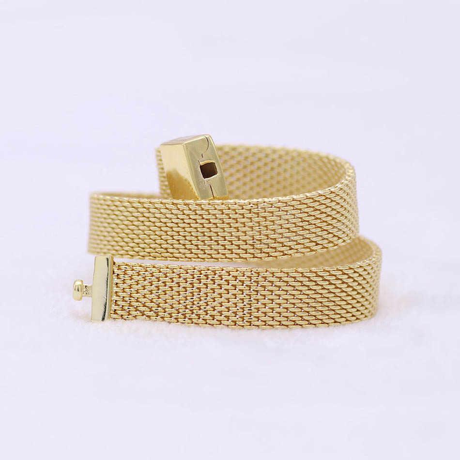 Original Gold Farbe Glanz Woven Mesh Reflexions Armband Armreif Fit 925 Sterling Silber Perle Charme Armband Europa Diy Schmuck