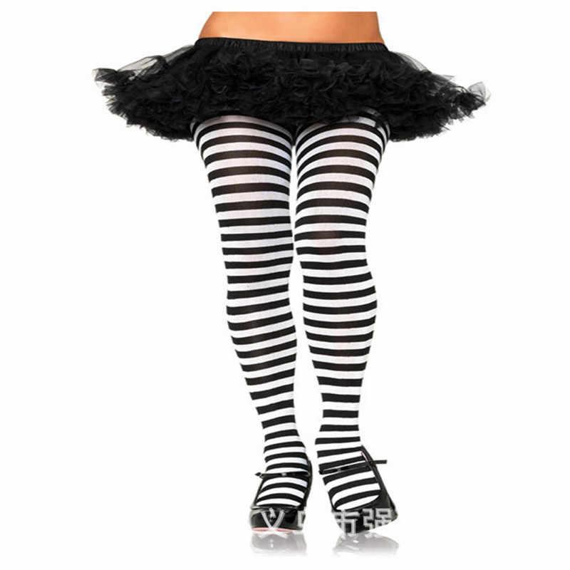 2019 nowe mody pani Cosplay paski rajstopy elastyczne rajstopy pończochy jesień zima Party boże narodzenie Clown rajstopy Multicolor