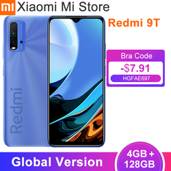 Global Version Xiaomi Redmi 9T Smartphone 4GB RAM 128GB ROM Snapdragon 662 6000mAh Battery 48MP Rear Camera 6.53''FHD Cellphone