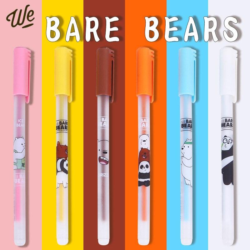 4 Pcs/lot Bare Bear Cute Cartoon Neutrality Erasable Blue Ink Gel Pen School Office Supply Gift Stationery Papelaria Escolar
