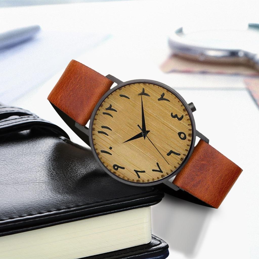 Simple New Arabic Leather Analog Quartz Men Watch Fashion Bamboo Wood Vintage Fashion Watches For Men часы мужские FJSL