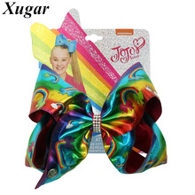 7 Jojo Siwa JOJO BOWS Hair Clip for Girls Gradient Rainbow Leather Large Bows Hairgrips Dance Party Kids Accessories