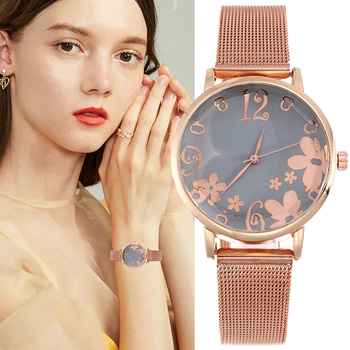 2019 New Flowers Rose Gold Steel Strip Women Watches Fashion Ultra Thin Quartz Wrist Watches Montre Femme Reloj Mujer Clock Gift