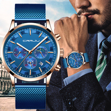 2019 New CRRJU Mens Watch Fashion Date Calendar Chronogra For Men Waterproof Sports Blue Stainless Steel Wrist Watches