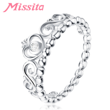 MISSITA Classic Vintage Silver Princess Crown Rings For Women Girls Gift Fashion Jewelry Engagement Anniversary anillos mujer