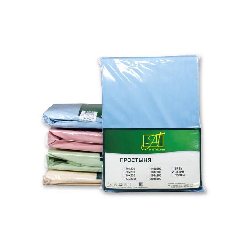 Фото - Bed Sheet АльВиТек, 180*214 cm, blue, Satin bed sheet альвитек 150 214 cm white
