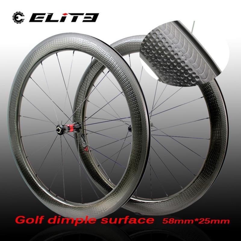 Elite 700c Dimple V Brake Wheelset Carbon Road Wheels High TG Golf Dimple Surface 58*25mm Rims Clincher Tubular Type Bike Wheel|Bicycle Wheel| |  - title=