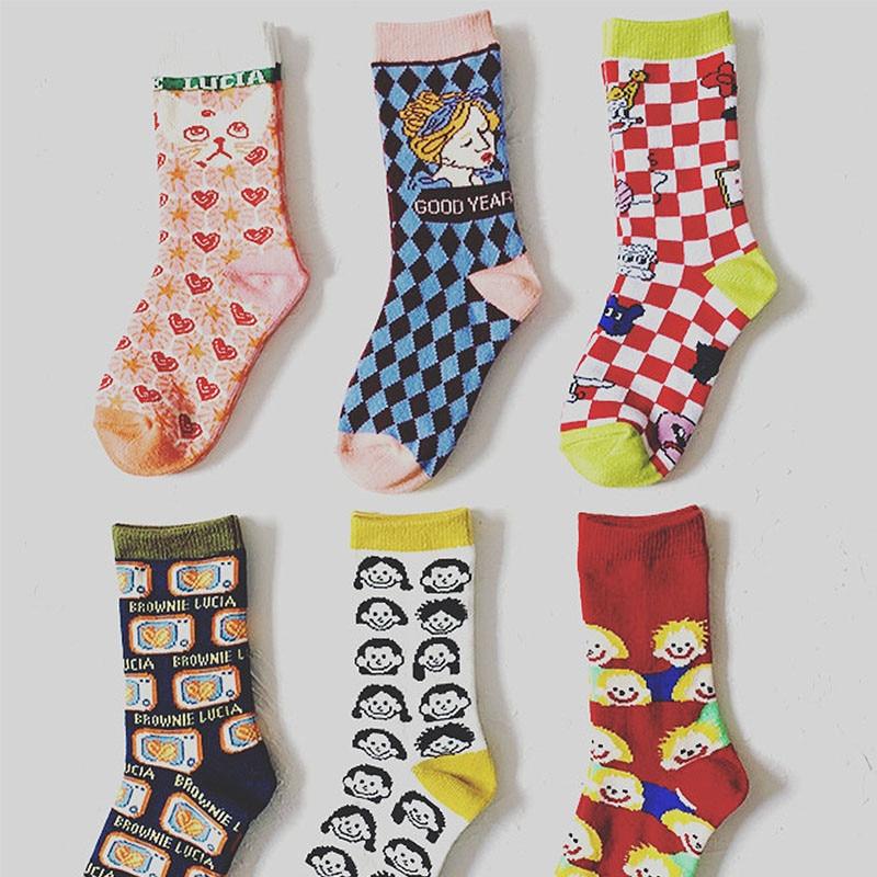 2020 New Arrivals Big Kids Cotton Tube Socks Fashion Design Brand Children Boys Girls Middle Socks Clown Cat Pattern Full Print