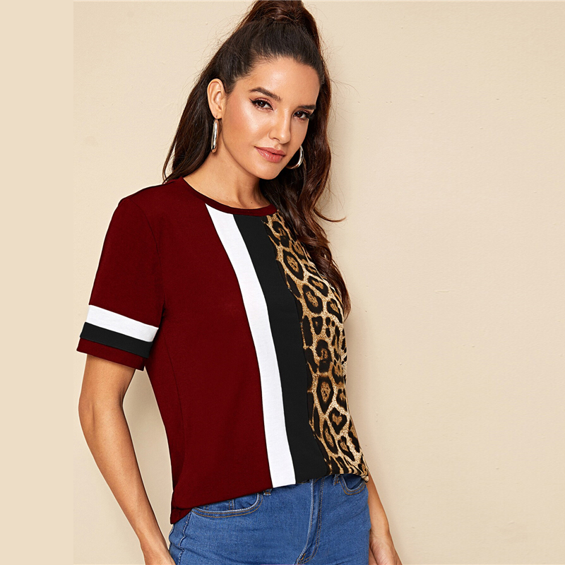 Block Cut-and-Sew Leopard Panel Top Short Sleeve O-Neck Casual T Shirt 92