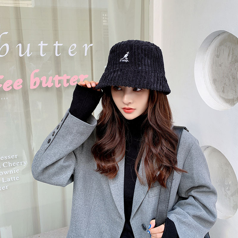 2021 Autumn and Winter New Casual Ladies Hat Coarse Grain Corduroy Warm and Windproof Fisherman Hat Tide Letter Basin Hat