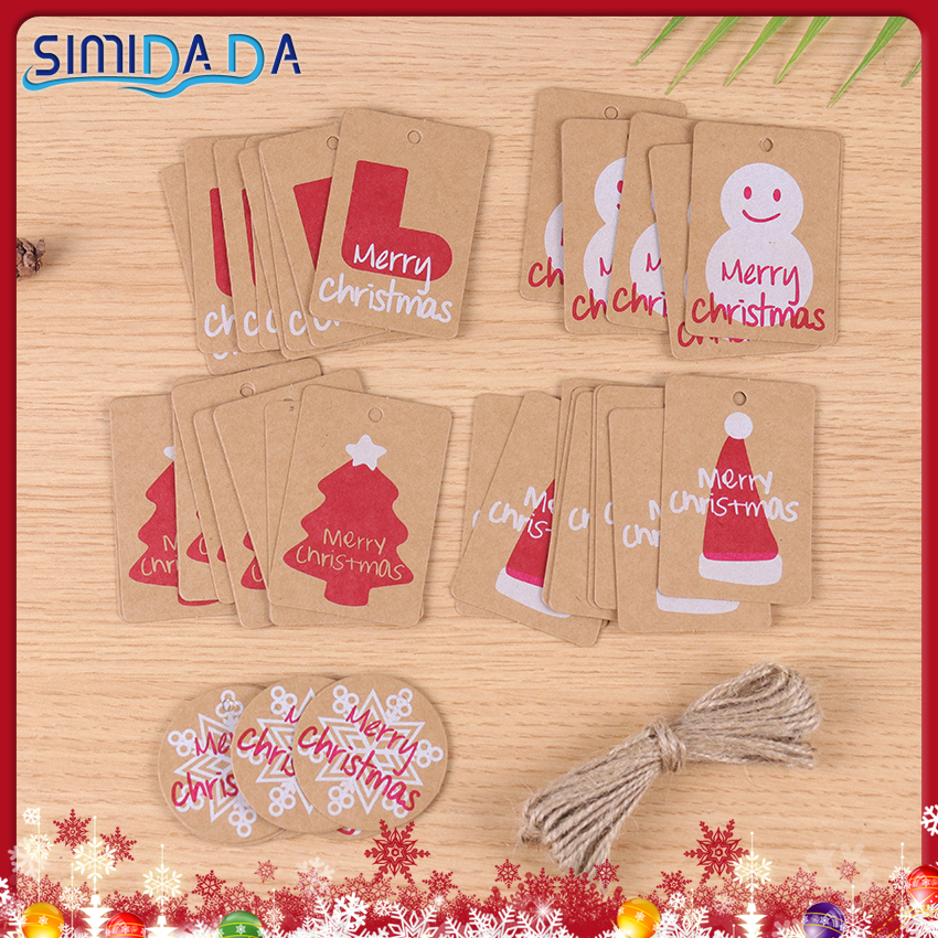50PCS Snowman Stocking Merry Christmas Kraft Paper HangTags DIY Food Label Wedding Gift Decorating Tag Xmas Trees Decoration