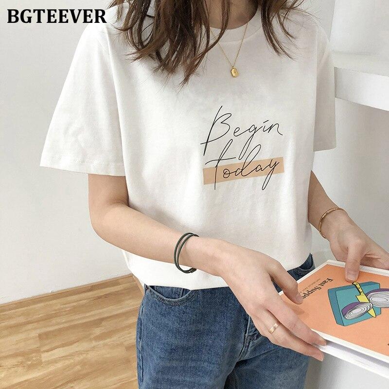 BGTEEVER Casual O-neck Letter Print Women T-shirt 2020 Summer Short Sleeve Loose Cotton Female Basic Tops Shirt Ladies Tees