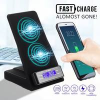 10W Dual USB Port Wireless QI Fast Charger Bracket Charging Base Station For IphoneX 8 For Samsung S9 8 S8 S7 S6