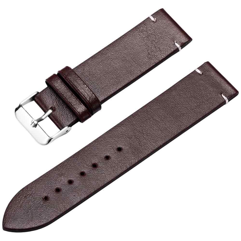 שעון להקת פו עור רצועות Watchbands 18mm 20mm 22mm שעון אביזרי גברים חום שחור חום צהוב חגורה להקת צמיד DOM