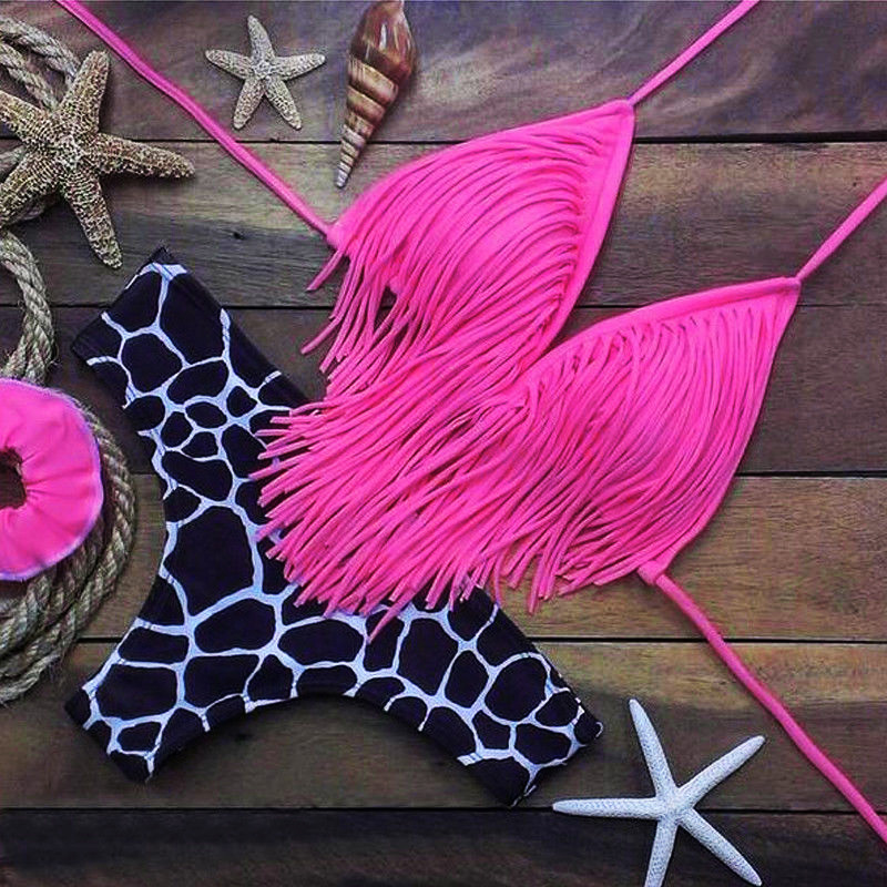Tassel Push Up Bikini Sets 2020 Women Sexy Thong Swimsuit Female Brazilian Swimwear Bathing Suit Summer Beachwear Biquini