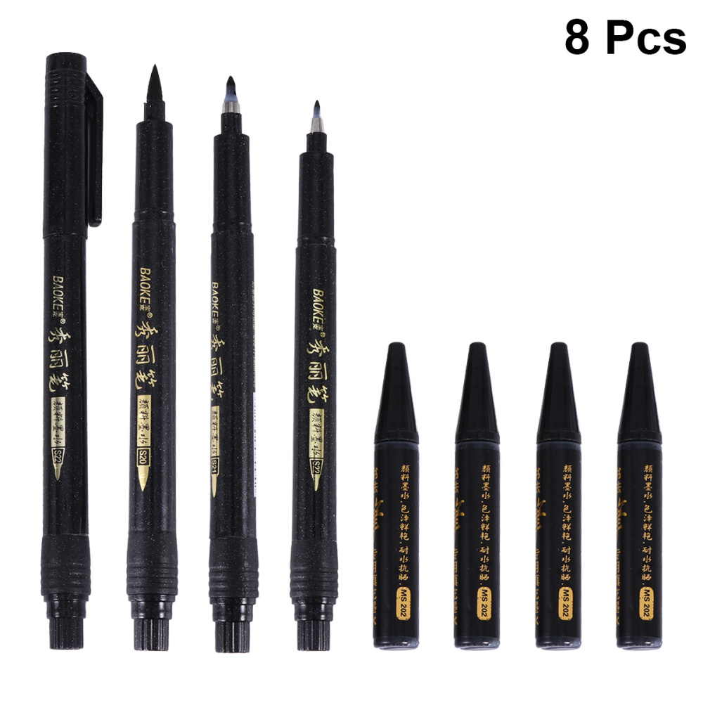 8pcs/Set Calligraphy Pens Chinese Japanese Kanji Characters Writing Brushes Refillable Pens Marker Pens Ink Pens Writing Signatu
