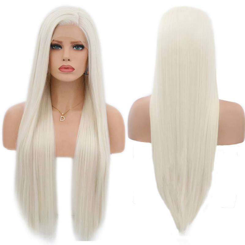 Image 3 - Charisma #60 Platinum Blonde Wig With Baby Hair 26 Inch Synthetic Lace Front Wig Glueless Heat Resistant Wigs For Women 13x3-in Synthetic None-Lace  Wigs from Hair Extensions & Wigs