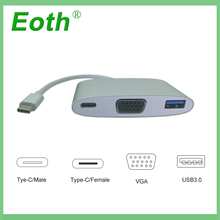 Eoth USB 3.1 Type C USB-C to VGA Female Adapter Cable type HDMI For New Macbook 12 inch Chromebook Pixel Lumia 950XL
