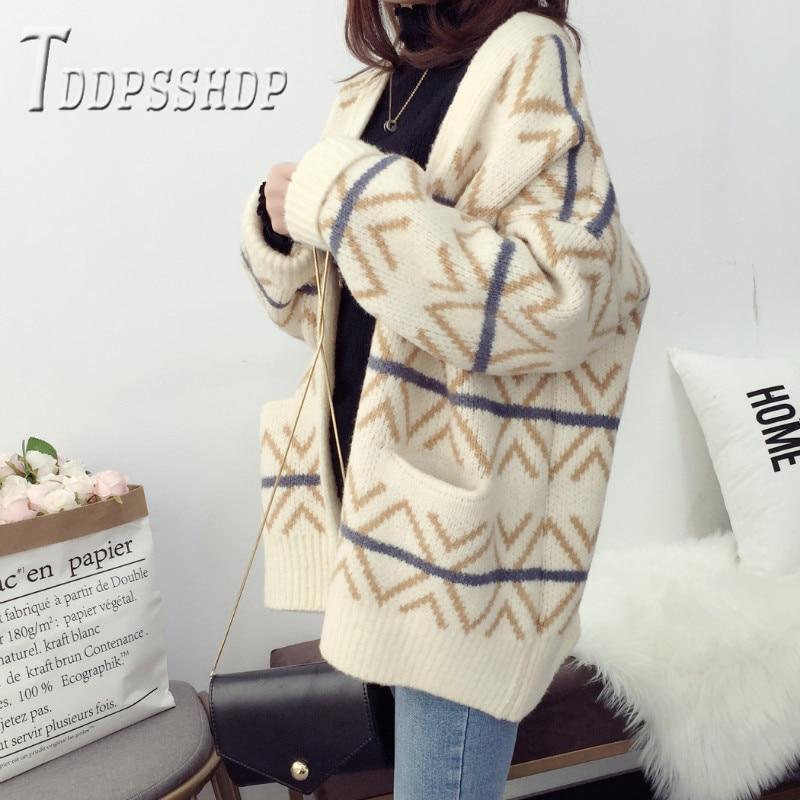 2019 Korean Thick Women Sweater Cardigan Autumn Stripe Female Sweaters