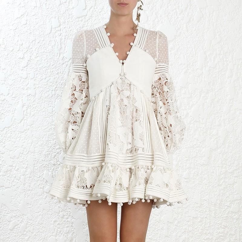 Роскошный бренд 2019 Летнее белое женское платье кружевное Сетчатое с прорезями просматривающееся сексуальное вечернее платье vestidos с v образным вырезом дамское мини платье