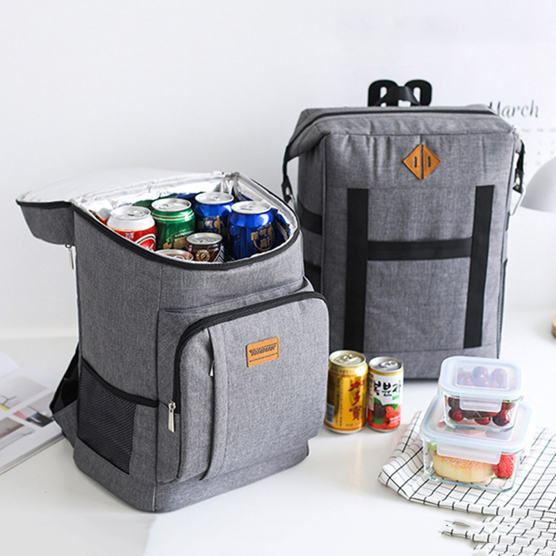 Large Insulation Lunch Bag Outdoor Picnic Cooler Bag Tote Food Fresh Keeping Ice Beer Wine Lunch Package Bottle Thermal Backpack