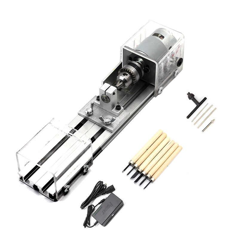 M/áquina Pulidora Mecanizado CNC para Mesa Carpinter/ía Madera Bricolaje Herramienta Torno Conjunto Est/ándar S SMAUTOP DC 96W Mini Torno de Cuentas